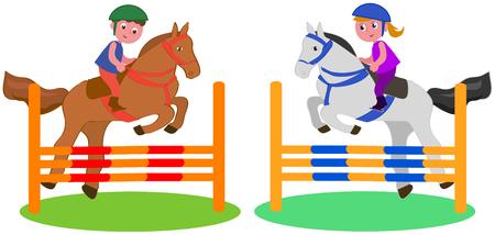 Jongen en meisje die met paarden, vectorillustratie springen die op wit wordt geïsoleerd