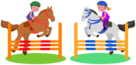 Boy and girl jumping with horses, vector illustration isolated on white Illustration