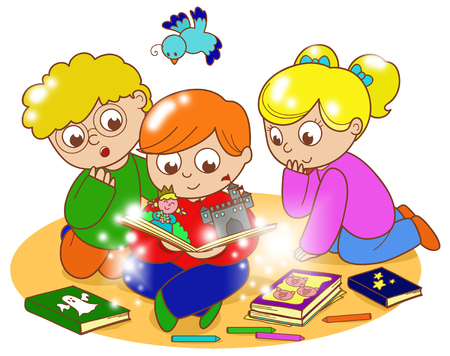 illustration of friends reading a magic pop-up book together. Stock Photo