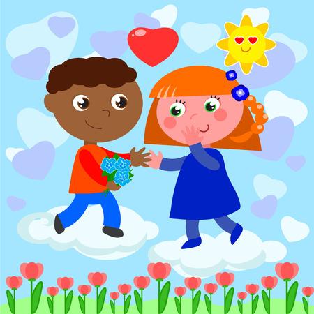 Niño negro y chica blanca en el amor, lindo dibujos animados ilustración vectorial