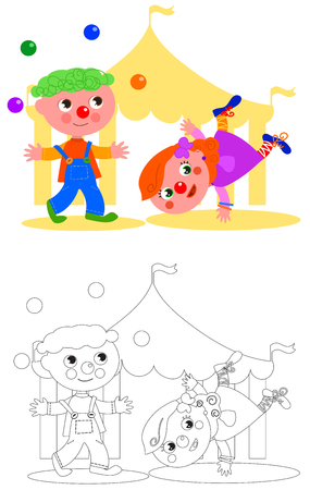 black haired: Children clown jugging and circus tent, vector coloring illustration Illustration