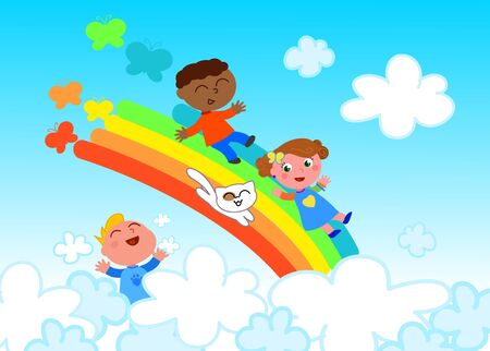 interracial: Happy friends sliding on rainbow in the sky, vector illustration