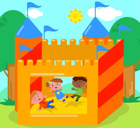 Kinder, die im federnd Schloss, Karikaturvektorillustration spielen Standard-Bild - 81513881