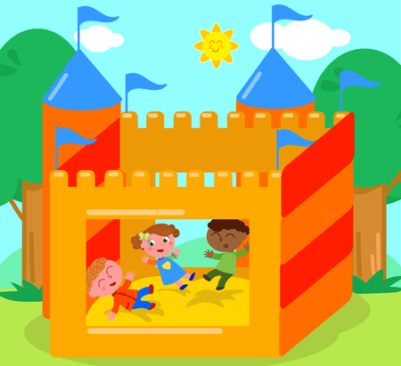 Children playing in bouncy castle, cartoon vector illustration