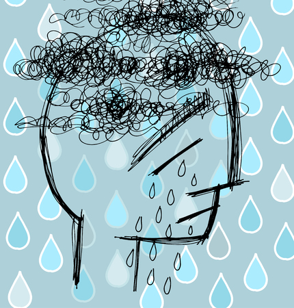 insanity: Sad man in tears, depression vector illustration