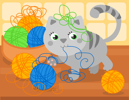 Cartoon little cat playing with wool ball, vector illustration