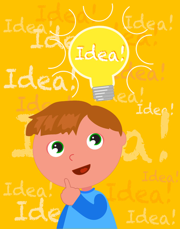 slick: Cute cartoon kid with a smart idea vector illustration Illustration