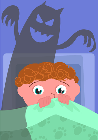 scaring: Scared boy in his bed with evil shadow, cartoon vector illustration