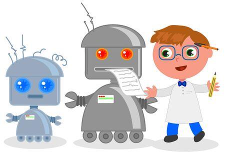 Cute cartoon scientist with funny robots, vector illustration