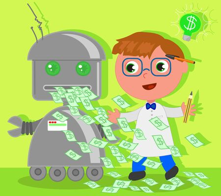 Cute cartoon scientist has invented a machine for the success making money. Vector illustration.