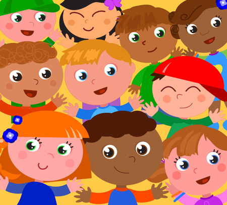 Smiling exultant kids from different part of the world. Cartoon vector illustartion