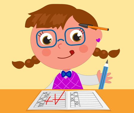 Smart girl with A+ good exam, cartoon vector illustration Illustration