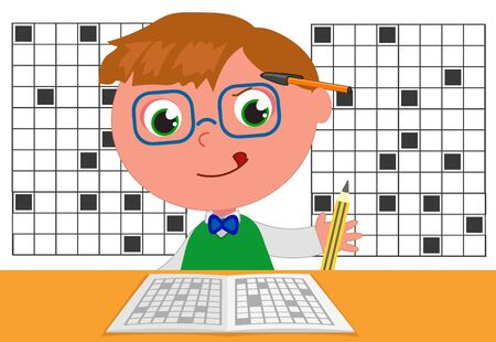 Genius champion of crosswords, cartoon illustration vector