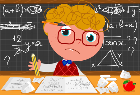 Incompetent goofy guy at the desk trying to solve mathematics problems cartoon vector illustration
