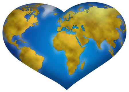 planisphere: Entire world planisphere in heart shape, digital illustration