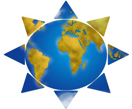 planisphere: Entire world planisphere in sun shape, digital illustration Stock Photo