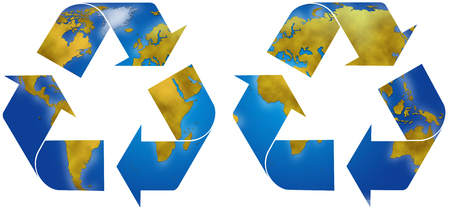 planisphere: World planisphere in two different recycle symbols, digital illustration