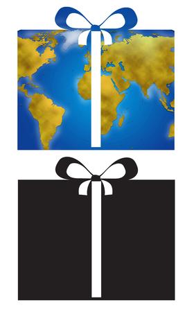 planisphere: Present and ribbon with world planisphere, digital illustration icons
