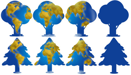 planisphere: World planisphere and continents in different trees digital illustration