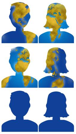 planisphere: World planisphere in male and female people head, digital illustration