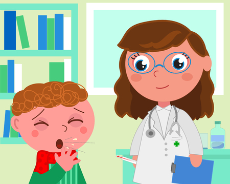 Boy with flue and doctor in pediatrist medical office, cartoon vector illustration Ilustrace