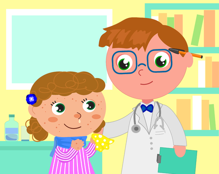Girl with measles and doctor in pediatrician medical office, cartoon vector illustration