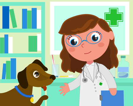 Woman veterinary in her office with a patient dog, cartoon vector illustration