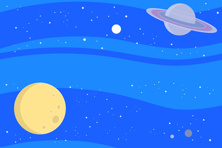 Blue sky space woth moon, saturn and stars. Vector illustration background