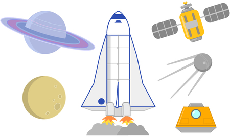 Space ships, planets and satellites astronomic icon set