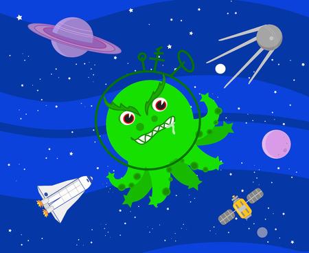 Evil green octopus martian in the deep space, cartoon vector
