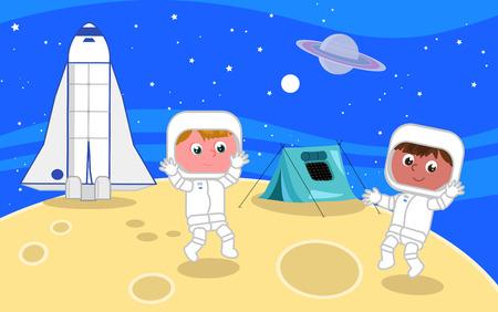 Cartoon spacemen on the moon illustration vector Illustration