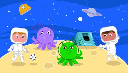 Dos astronautas de dibujos animados jugando un partido de fútbol en la luna, ilustración vectorial