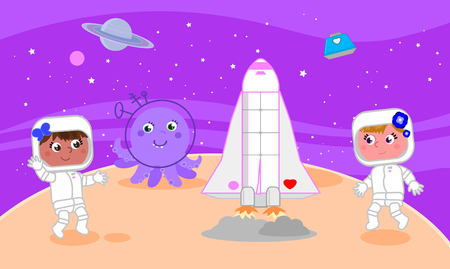 Two cartoon cute girls astronauts on the moon, vector illustration