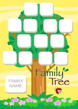 Genealogical cartoon tree in summer, vector illustration Illustration