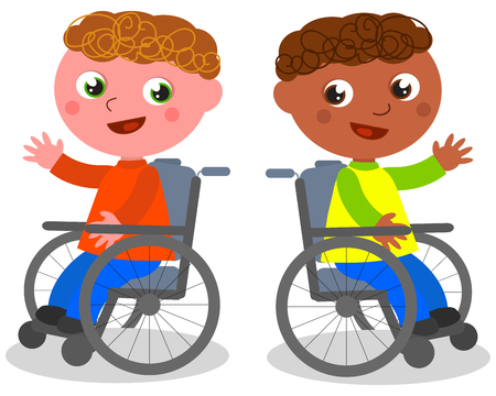 Caucasian and ethnic kids smiling on wheelchairs, vector illustration