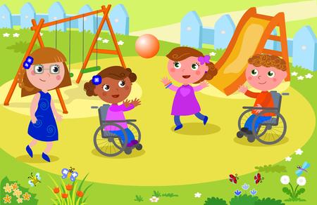 Discapacitados niño y niña jugando en el patio de recreo jugando con otras personas, ilustración vectorial