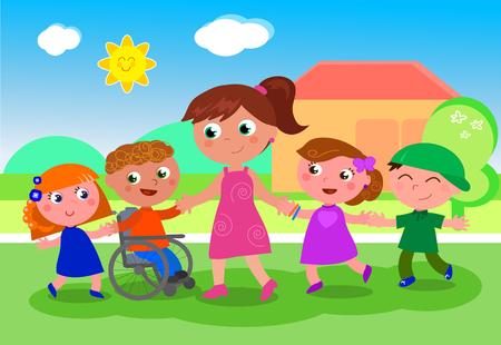 Profesor de dibujos animados o baby-sitter con niños, niñas y niños discapacitados cerca de la escuela, ilustración vectorial