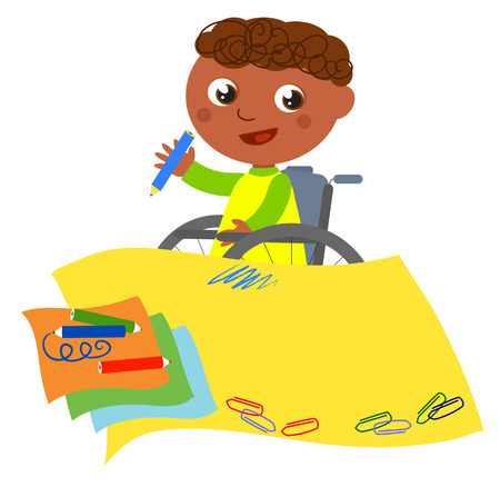 Boy in wheelchair writing with on yellow paper, vector cartoon illustration