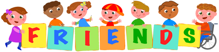 Happy multicultural kids with disabled boy holding sings with the letters of the word friends. Vector illustration Çizim