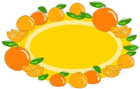 Orange and mandarin fruits oval label vector illustration