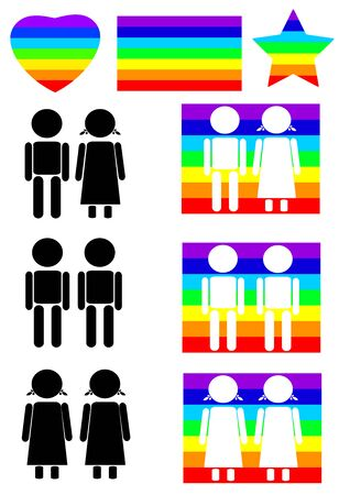 wedding couple: Raibow flag and couples colorful silhouettes, set of different type of couples