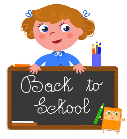 Cute girl with black chalkboard with the text nack to school. Cartoon vector illustration Illustration