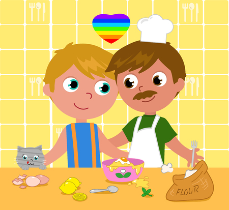 Male homosexual happy couple in the kitchen with ingredients and food, cartoon vector illustration