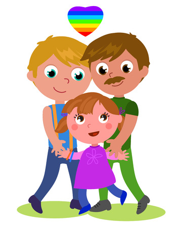 Cartoon male homosexual happy family cartoon vector illustration