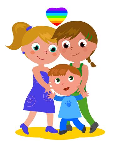 Cartoon female homosexual couple with son cartoon vector illustration Illustration