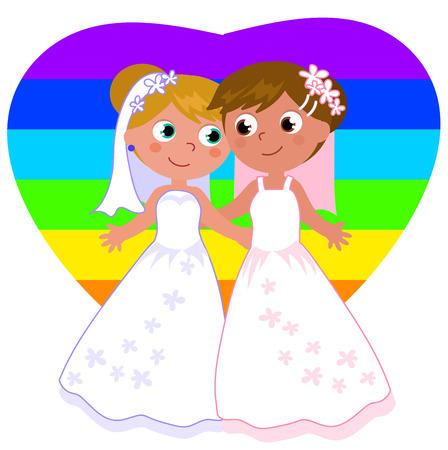 Cartoon female homosexual couple wedding vector illustration Illustration