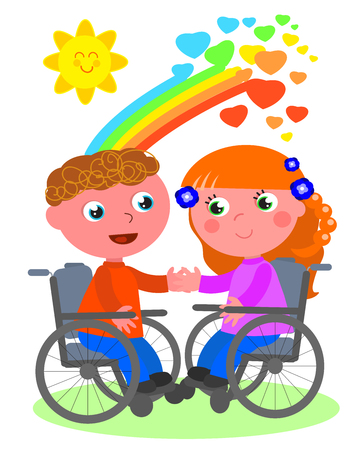 Cute couple of disabled young kids in a romantic date, vector illustration.