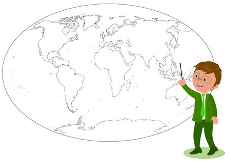 Sonriente gerente o profesor mostrando algo en un mundo en blanco y negro mapa ilustración Ilustración de vector