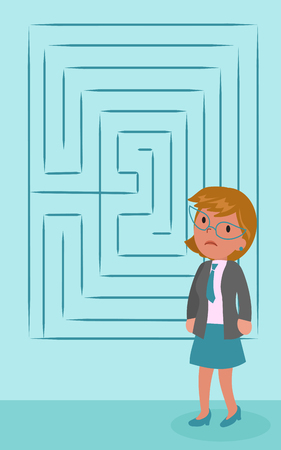 Sad puzzled business woman with maze, concept vector illustration Illustration