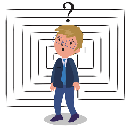 Sad puzzled business man with maze, concept vector illustration